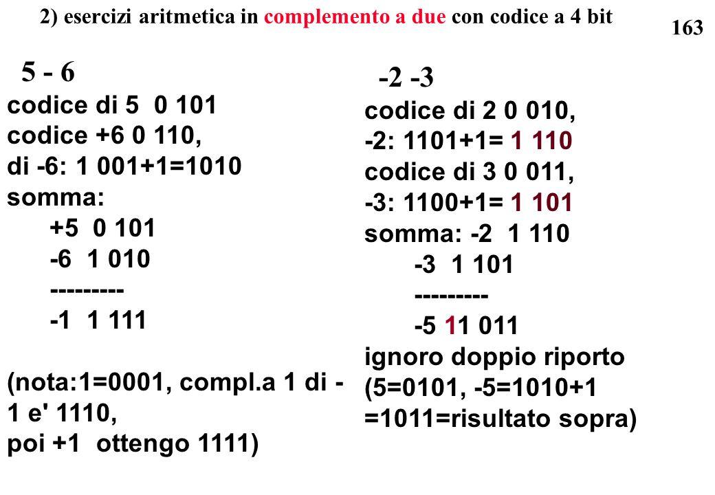 2) esercizi aritmetica in complemento a due con codice a 4 bit