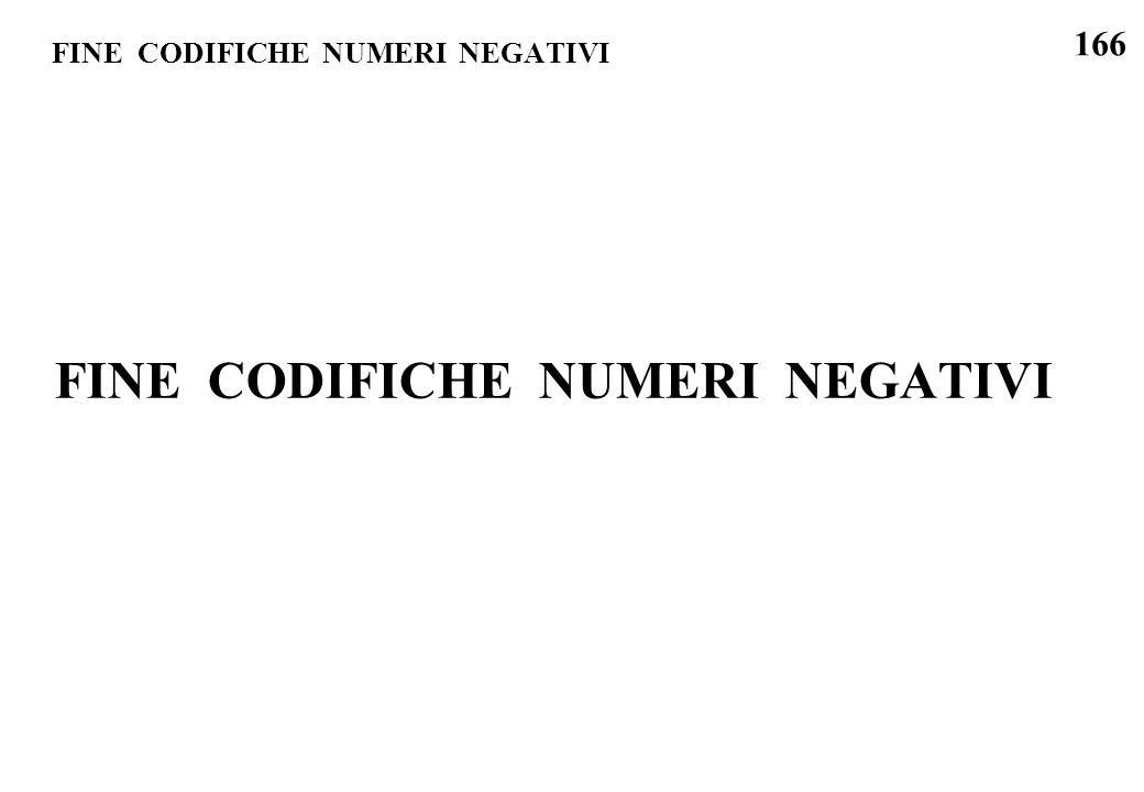 FINE CODIFICHE NUMERI NEGATIVI