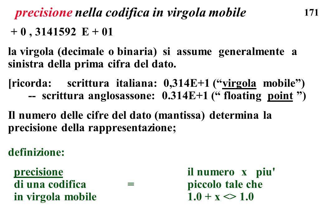 precisione nella codifica in virgola mobile