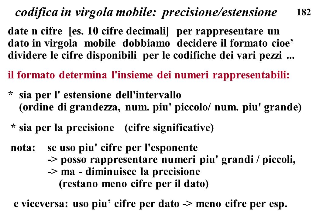 codifica in virgola mobile: precisione/estensione