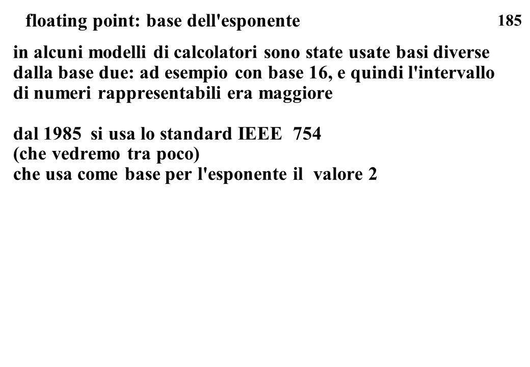 floating point: base dell esponente