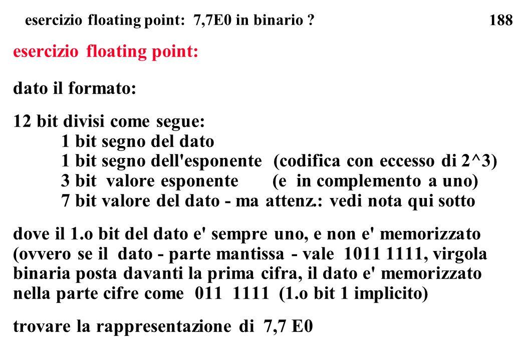 esercizio floating point: 7,7E0 in binario