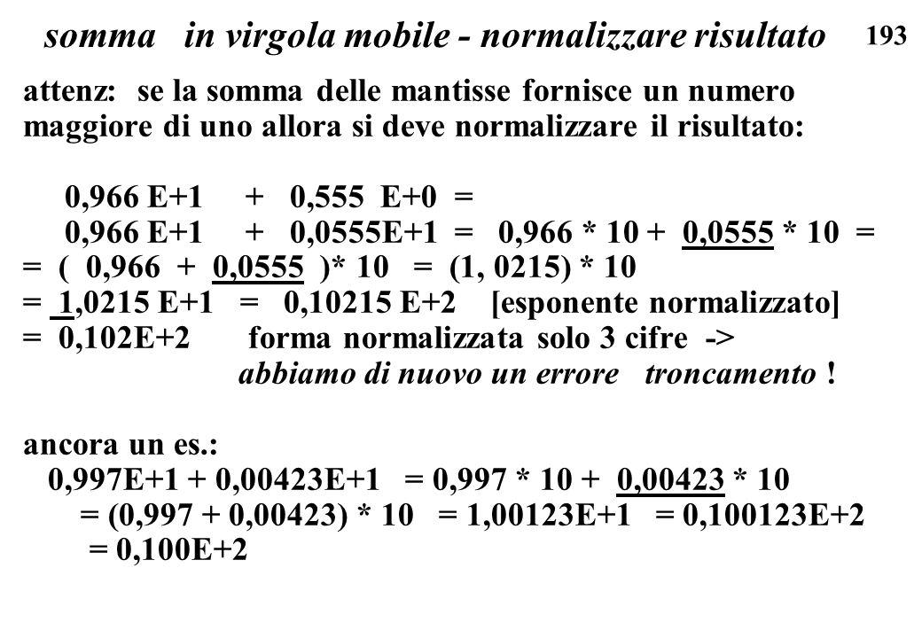 somma in virgola mobile - normalizzare risultato