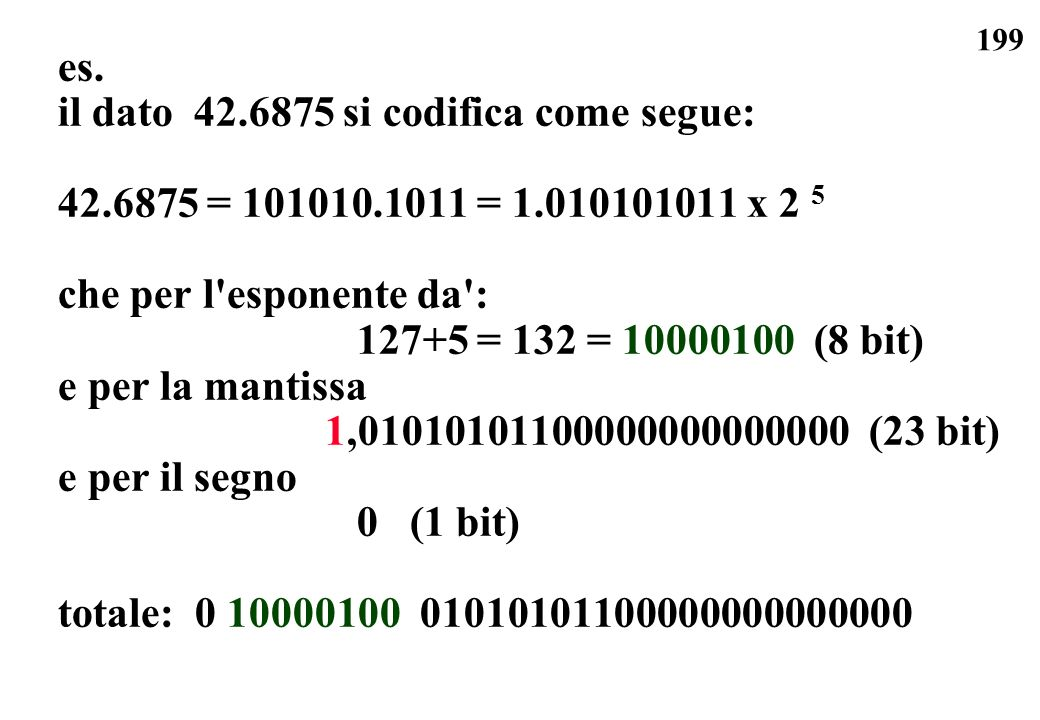es. il dato 42.6875 si codifica come segue: 42.6875 = 101010.1011 = 1.010101011 x 2 5. che per l esponente da :
