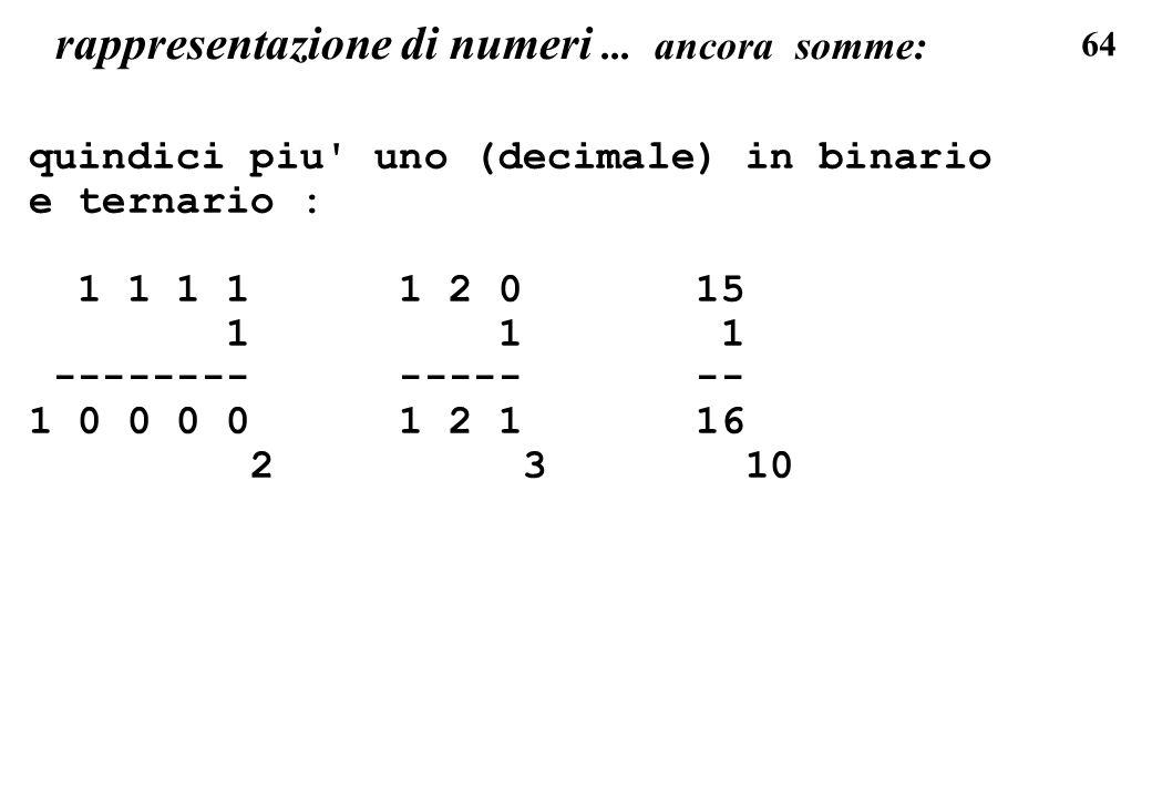 rappresentazione di numeri ... ancora somme: