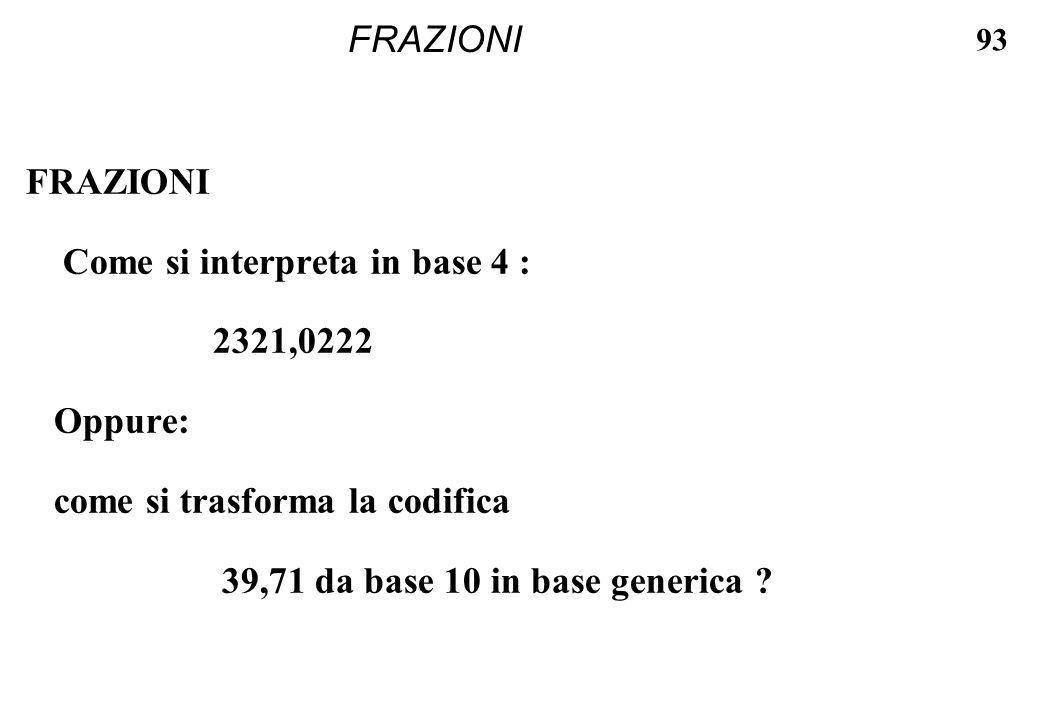 FRAZIONI FRAZIONI. Come si interpreta in base 4 : 2321,0222. Oppure: come si trasforma la codifica.