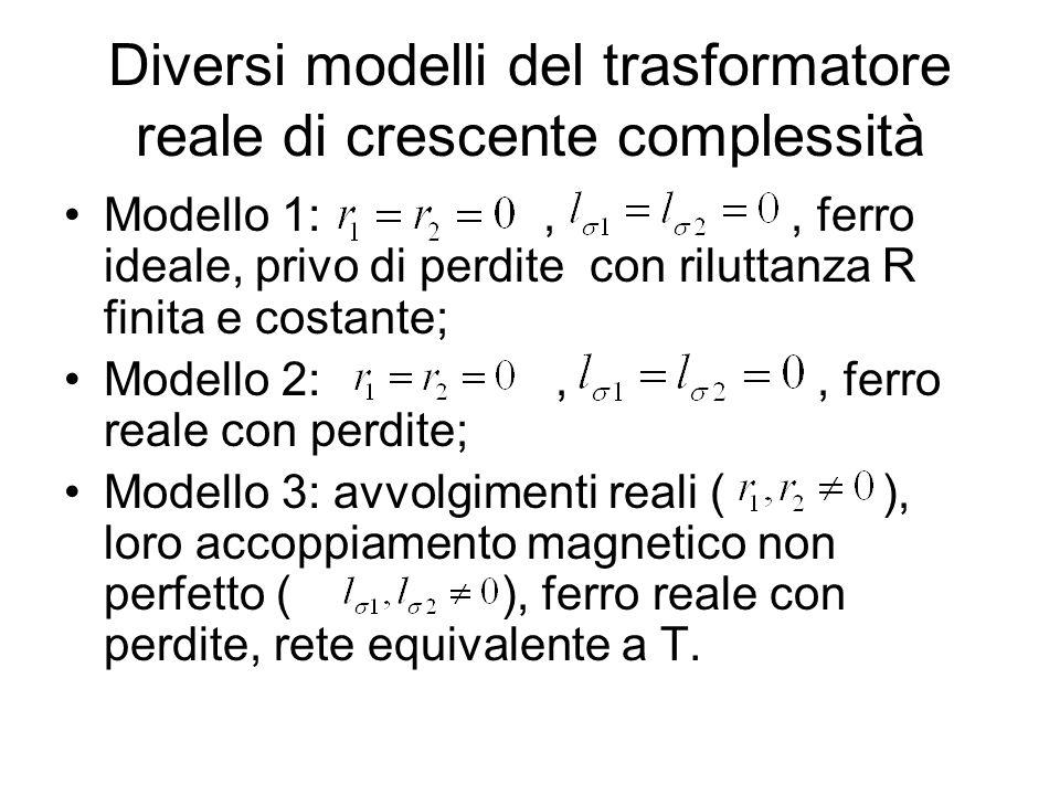 Diversi modelli del trasformatore reale di crescente complessità