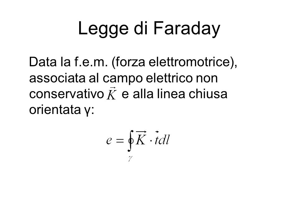 Legge di Faraday Data la f.e.m.