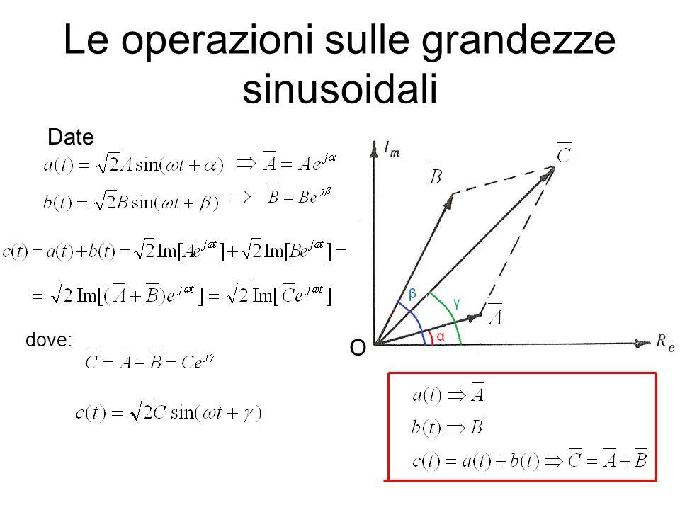 Le operazioni sulle grandezze sinusoidali