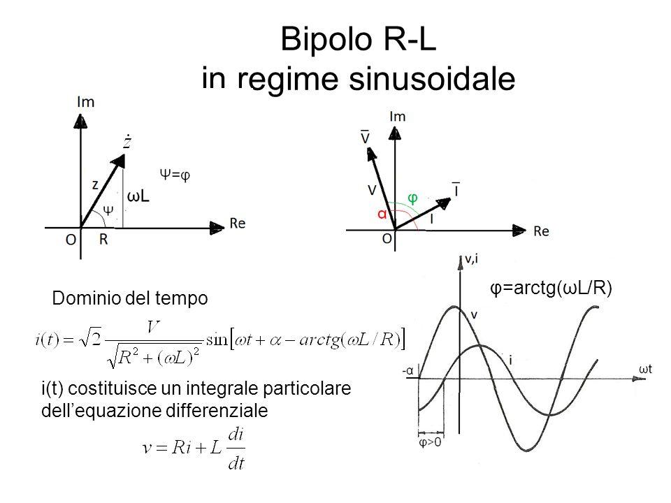 Bipolo R-L in regime sinusoidale φ=arctg(ωL/R) Dominio del tempo