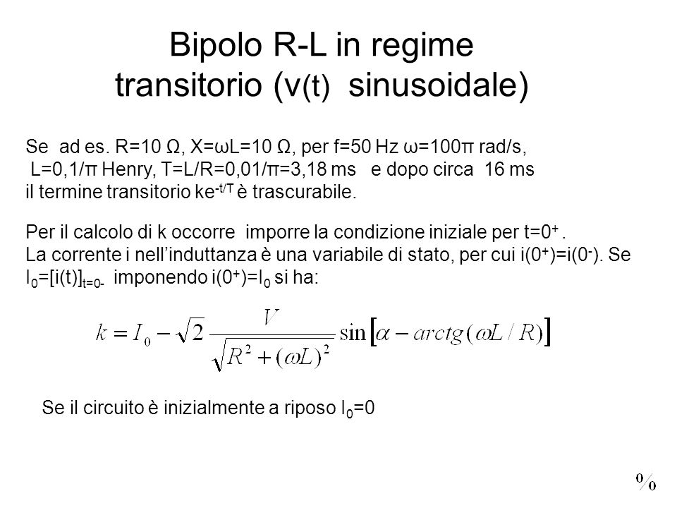 transitorio (v(t) sinusoidale)