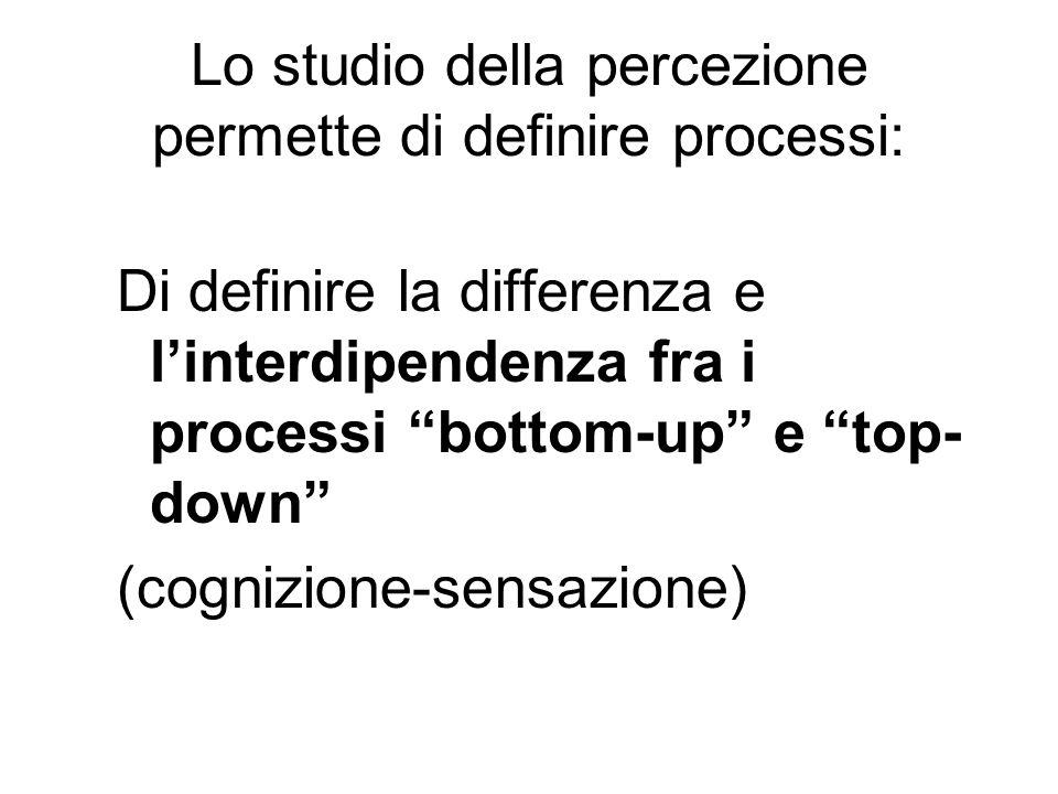 Lo studio della percezione permette di definire processi: