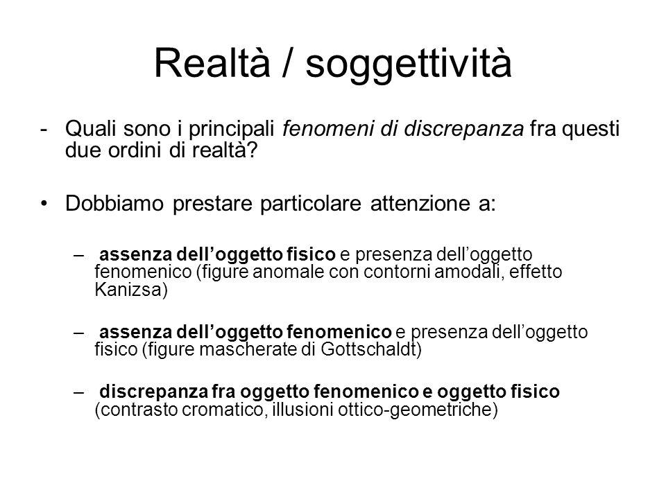 Realtà / soggettività Quali sono i principali fenomeni di discrepanza fra questi due ordini di realtà