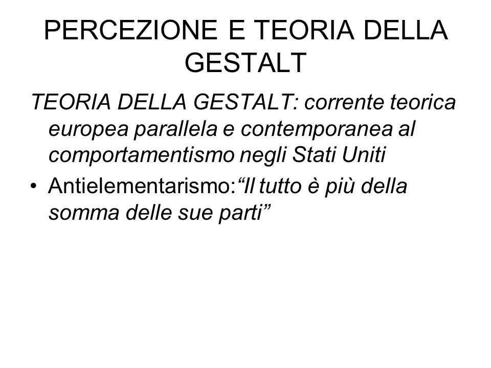 PERCEZIONE E TEORIA DELLA GESTALT
