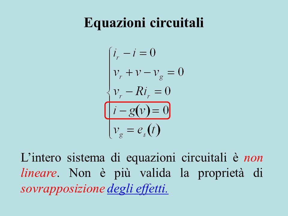 Equazioni circuitali L'intero sistema di equazioni circuitali è non lineare. Non è più valida la proprietà di sovrapposizione degli effetti.