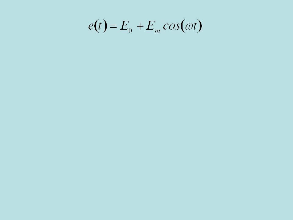 In questo caso la tensione impressa dal generatore è la somma di un termine costante e di uno sinusoidale con pulsazione omega e ampiezza Em.