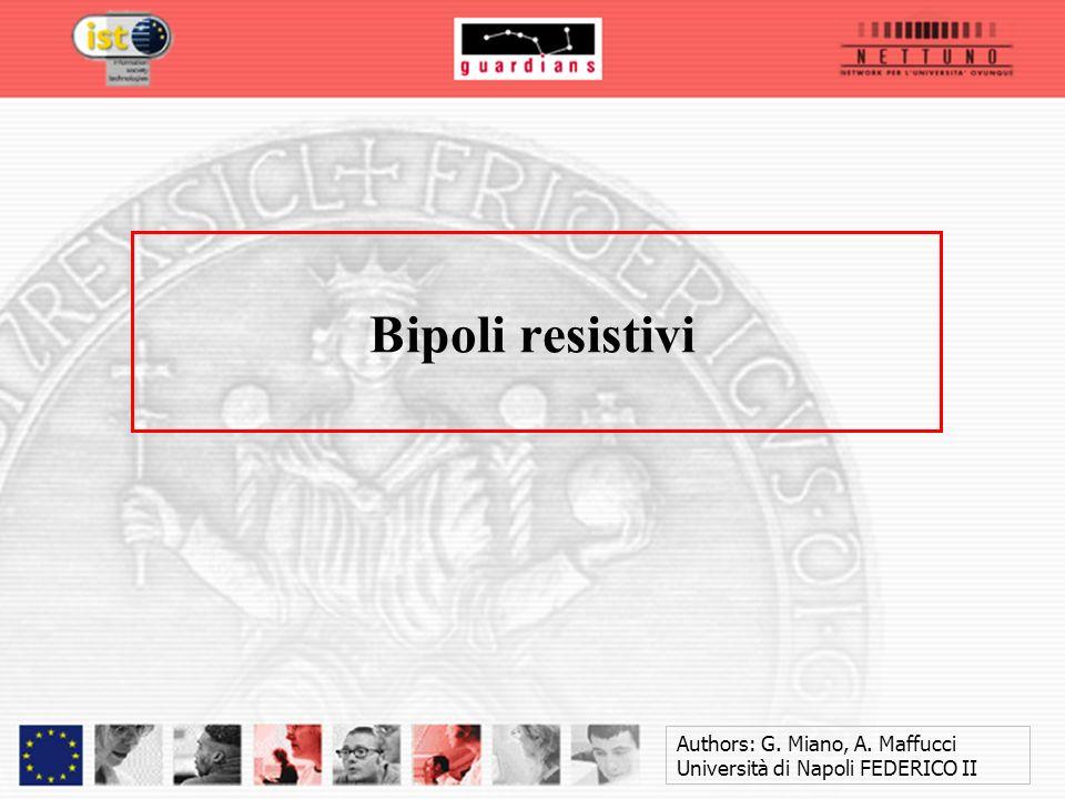 Bipoli resistivi Authors: G. Miano, A. Maffucci