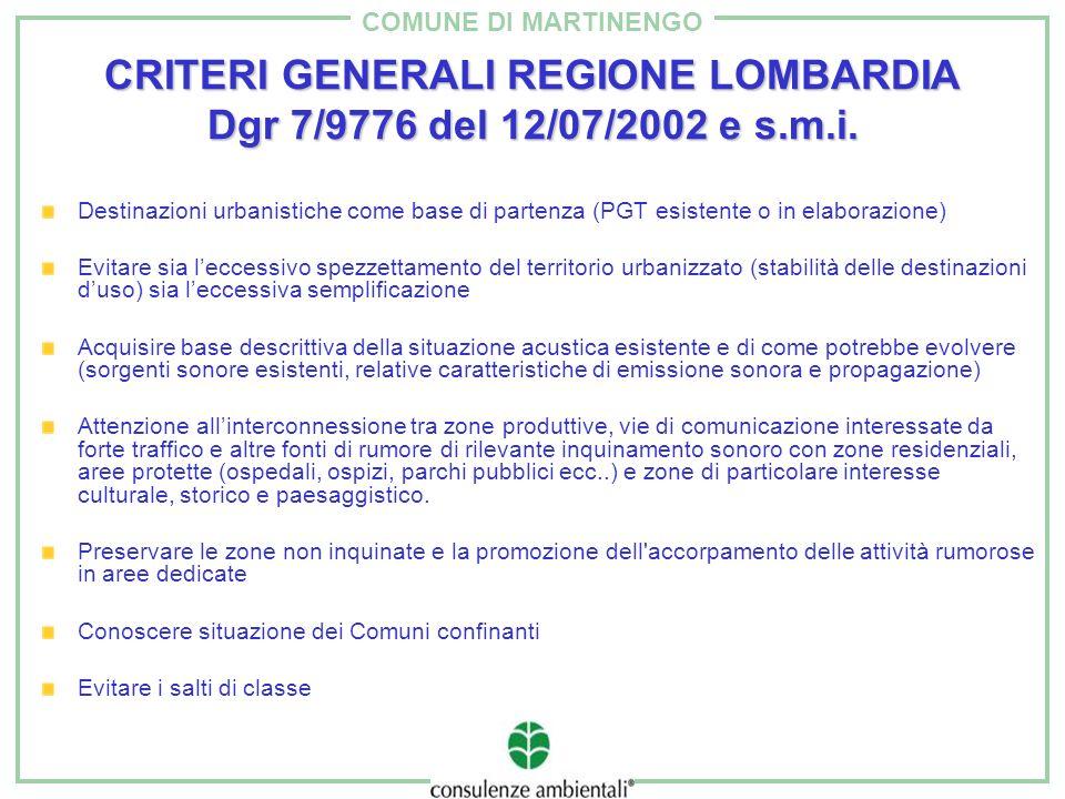 CRITERI GENERALI REGIONE LOMBARDIA Dgr 7/9776 del 12/07/2002 e s.m.i.