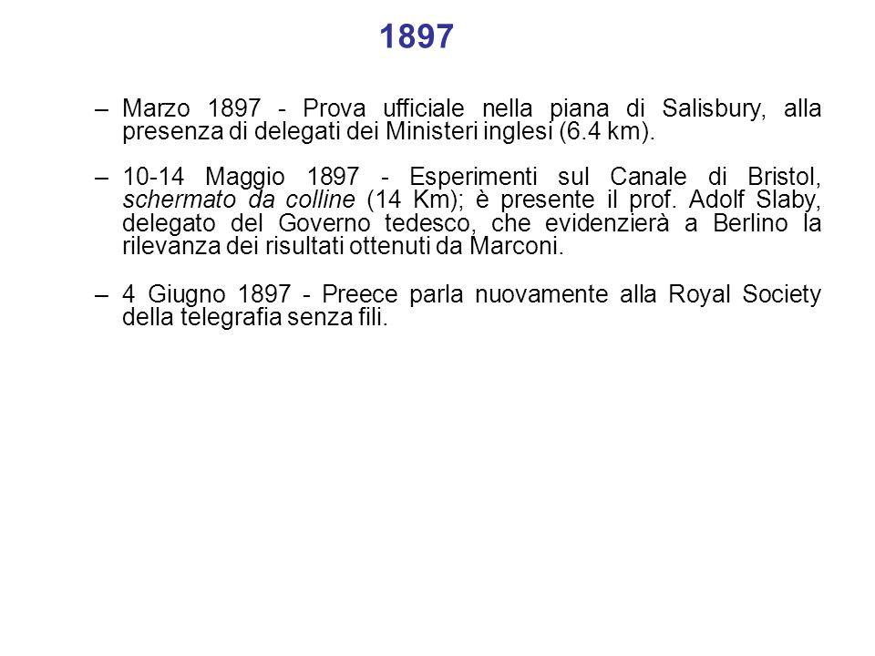 1897Marzo 1897 - Prova ufficiale nella piana di Salisbury, alla presenza di delegati dei Ministeri inglesi (6.4 km).