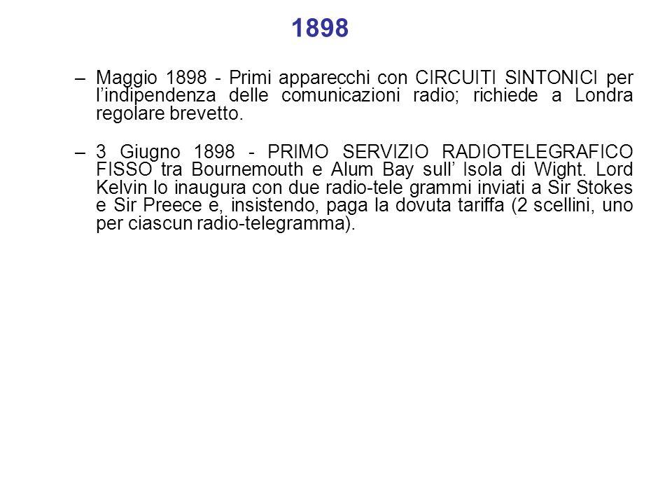1898 Maggio 1898 - Primi apparecchi con CIRCUITI SINTONICI per l'indipendenza delle comunicazioni radio; richiede a Londra regolare brevetto.