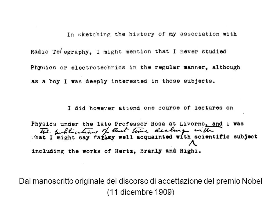 Dal manoscritto originale del discorso di accettazione del premio Nobel