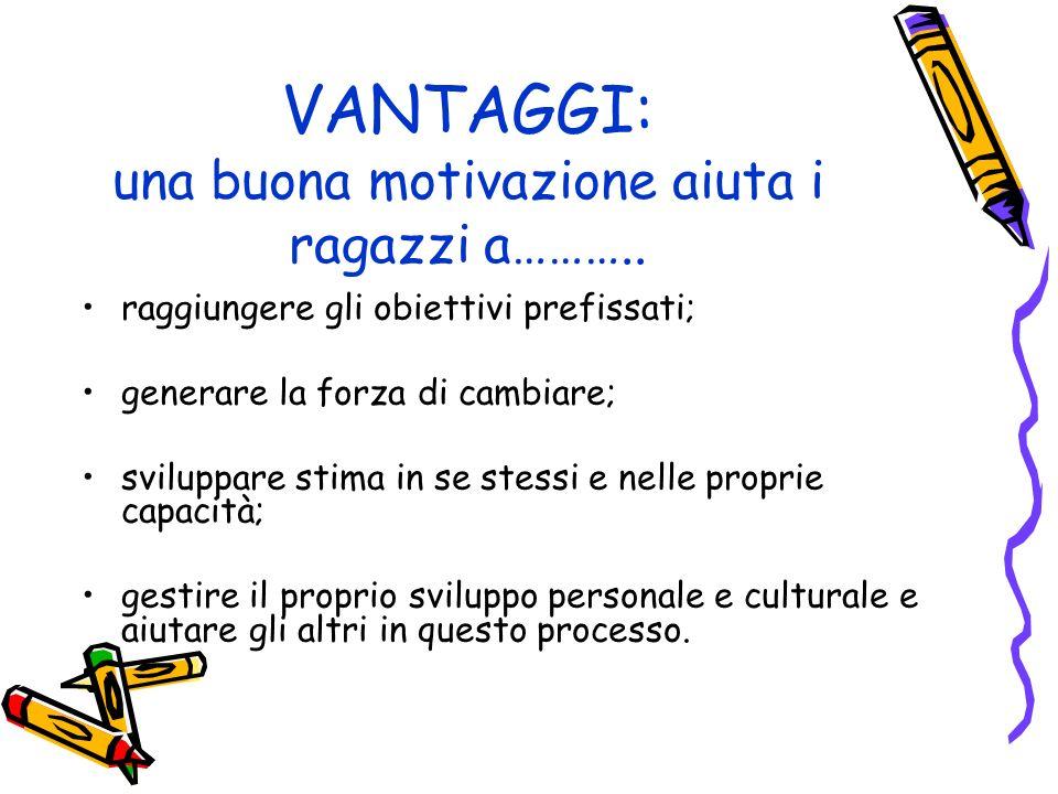 VANTAGGI: una buona motivazione aiuta i ragazzi a………..