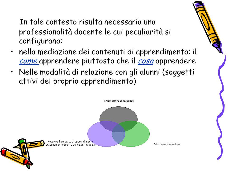 In tale contesto risulta necessaria una professionalità docente le cui peculiarità si configurano: