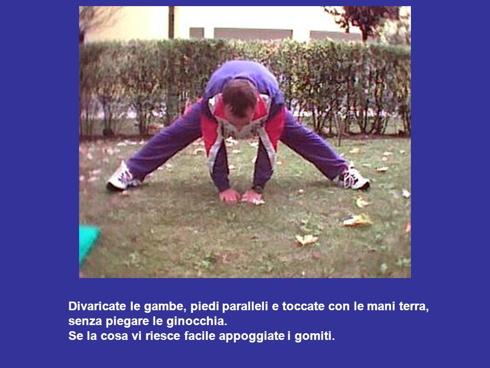 Divaricate le gambe, piedi paralleli e toccate con le mani terra,