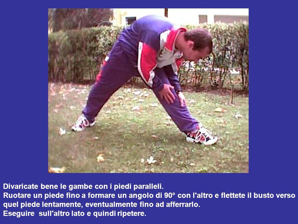 Divaricate bene le gambe con i piedi paralleli.