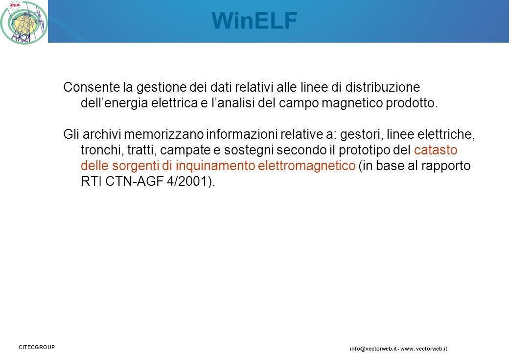 WinELF Consente la gestione dei dati relativi alle linee di distribuzione dell'energia elettrica e l'analisi del campo magnetico prodotto.