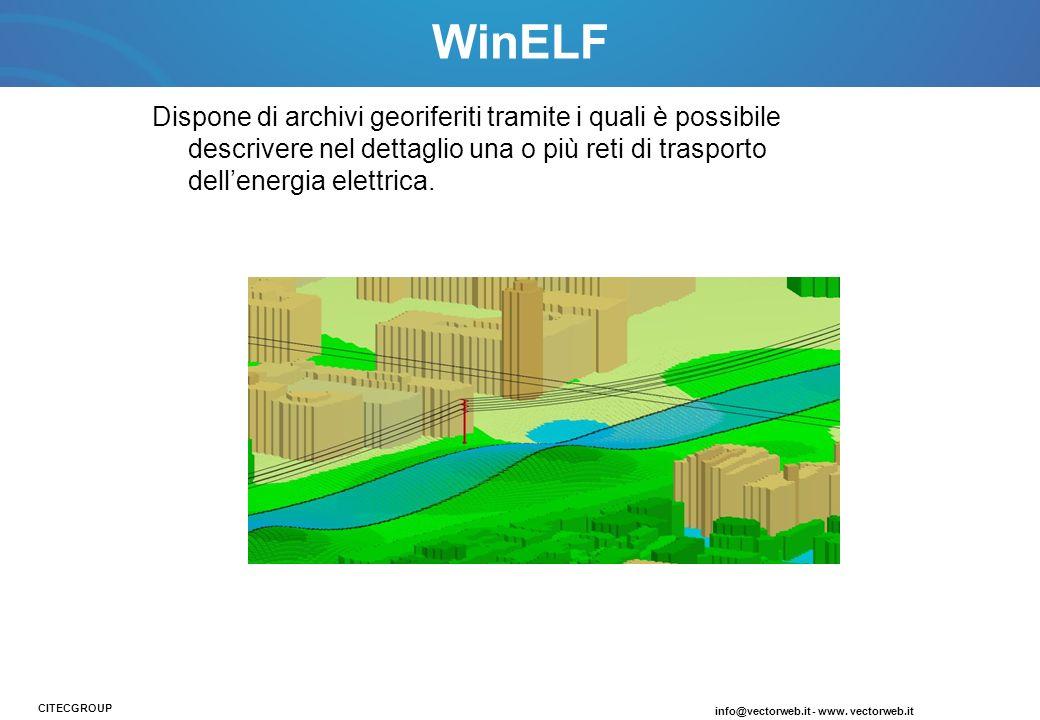WinELF Dispone di archivi georiferiti tramite i quali è possibile descrivere nel dettaglio una o più reti di trasporto dell'energia elettrica.