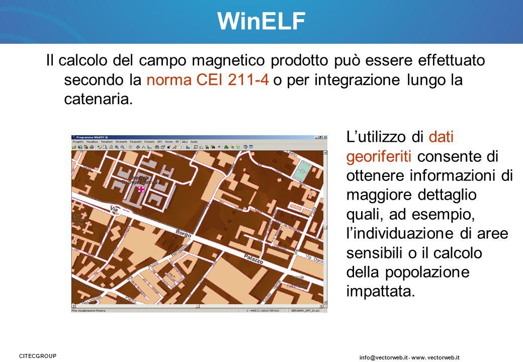 WinELF Il calcolo del campo magnetico prodotto può essere effettuato secondo la norma CEI 211-4 o per integrazione lungo la catenaria.