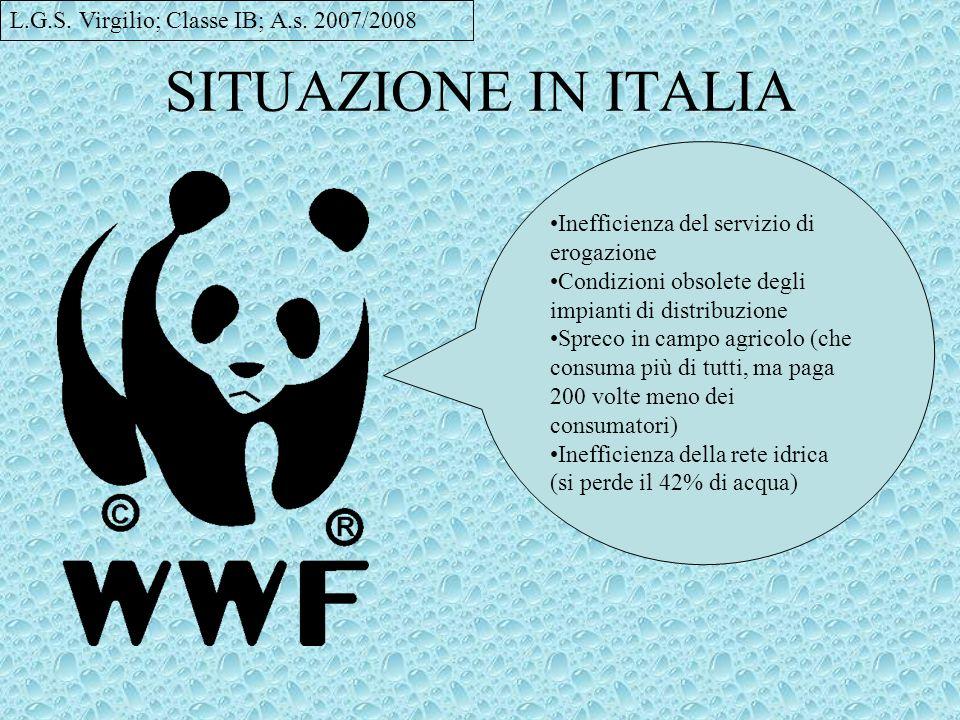 SITUAZIONE IN ITALIA L.G.S. Virgilio; Classe IB; A.s. 2007/2008