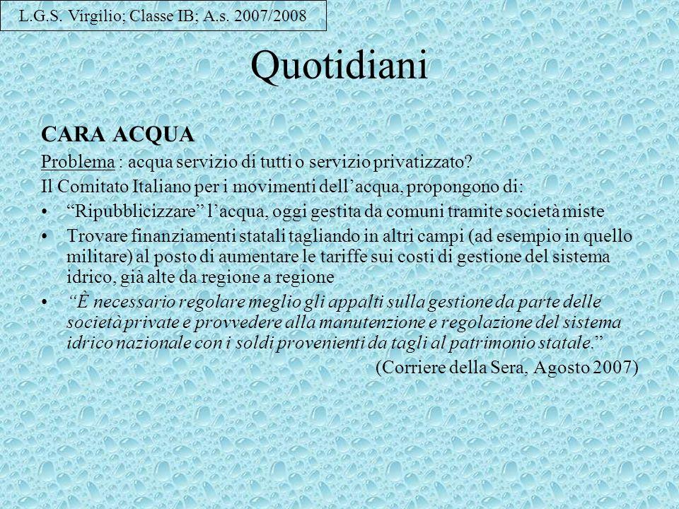 L.G.S. Virgilio; Classe IB; A.s. 2007/2008
