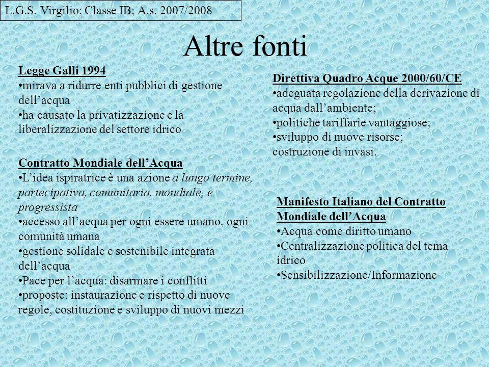 Altre fonti L.G.S. Virgilio; Classe IB; A.s. 2007/2008