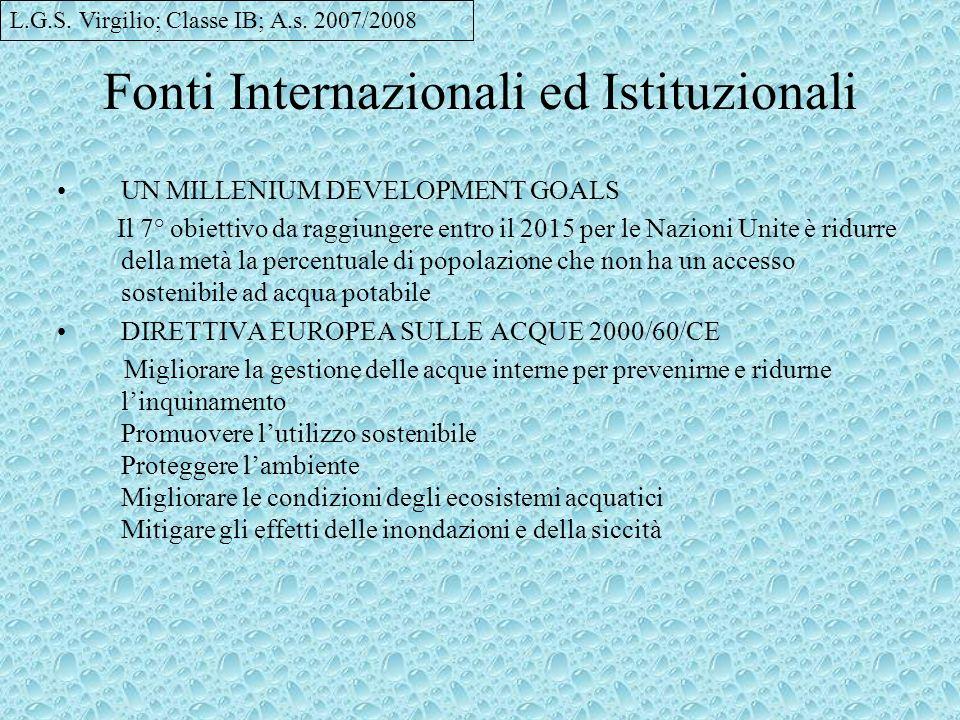 Fonti Internazionali ed Istituzionali
