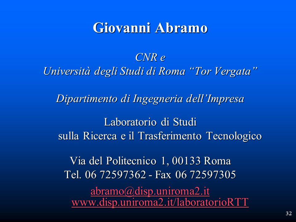Giovanni Abramo CNR e Università degli Studi di Roma Tor Vergata