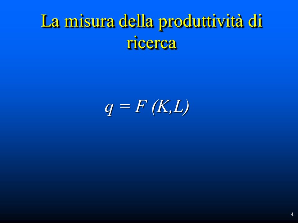 La misura della produttività di ricerca