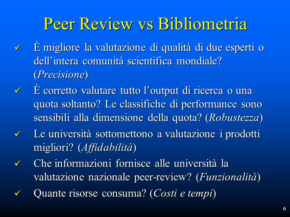 Peer Review vs Bibliometria