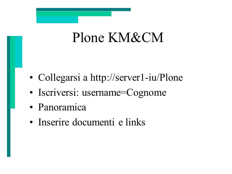 Plone KM&CM Collegarsi a http://server1-iu/Plone