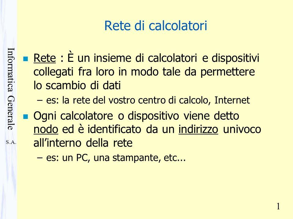Rete di calcolatori Rete : È un insieme di calcolatori e dispositivi collegati fra loro in modo tale da permettere lo scambio di dati.