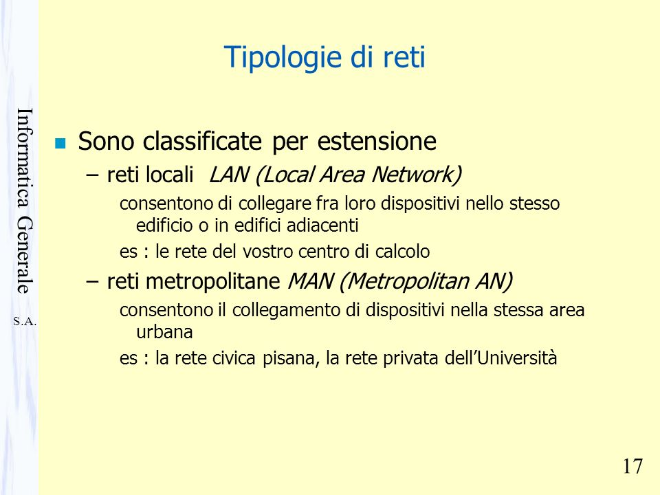 Tipologie di reti Sono classificate per estensione
