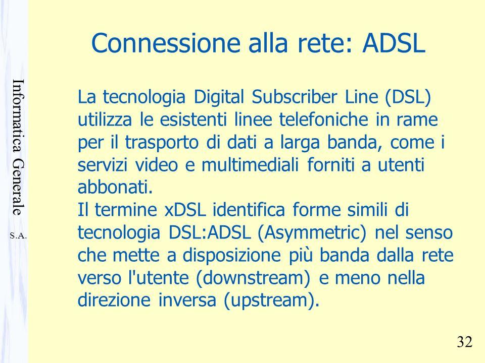 Connessione alla rete: ADSL