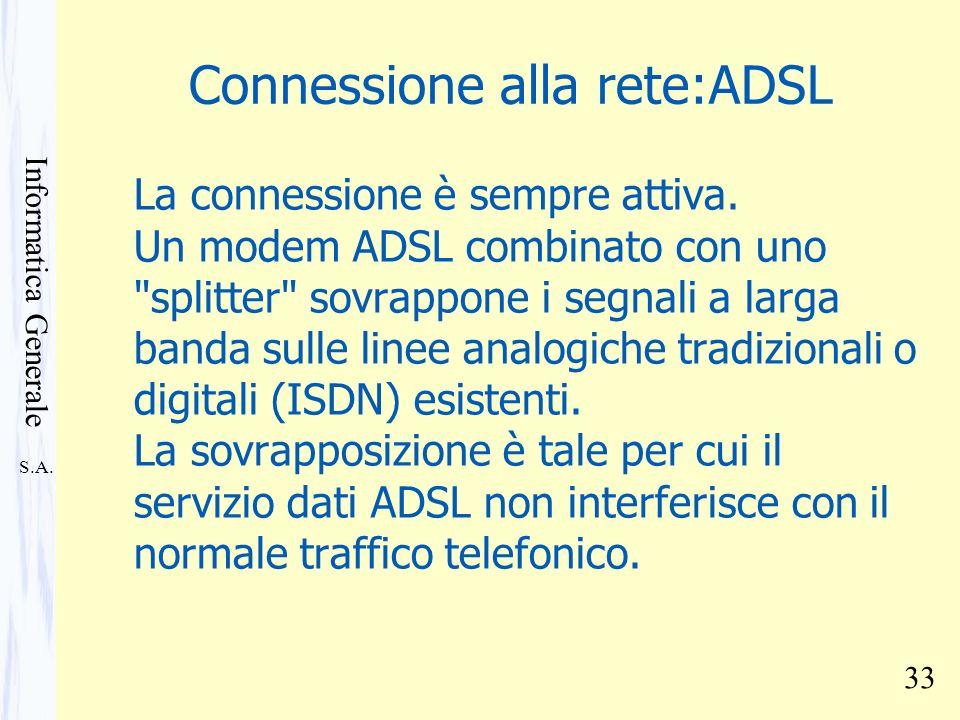 Connessione alla rete:ADSL