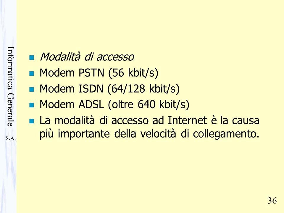Modalità di accesso Modem PSTN (56 kbit/s) Modem ISDN (64/128 kbit/s) Modem ADSL (oltre 640 kbit/s)