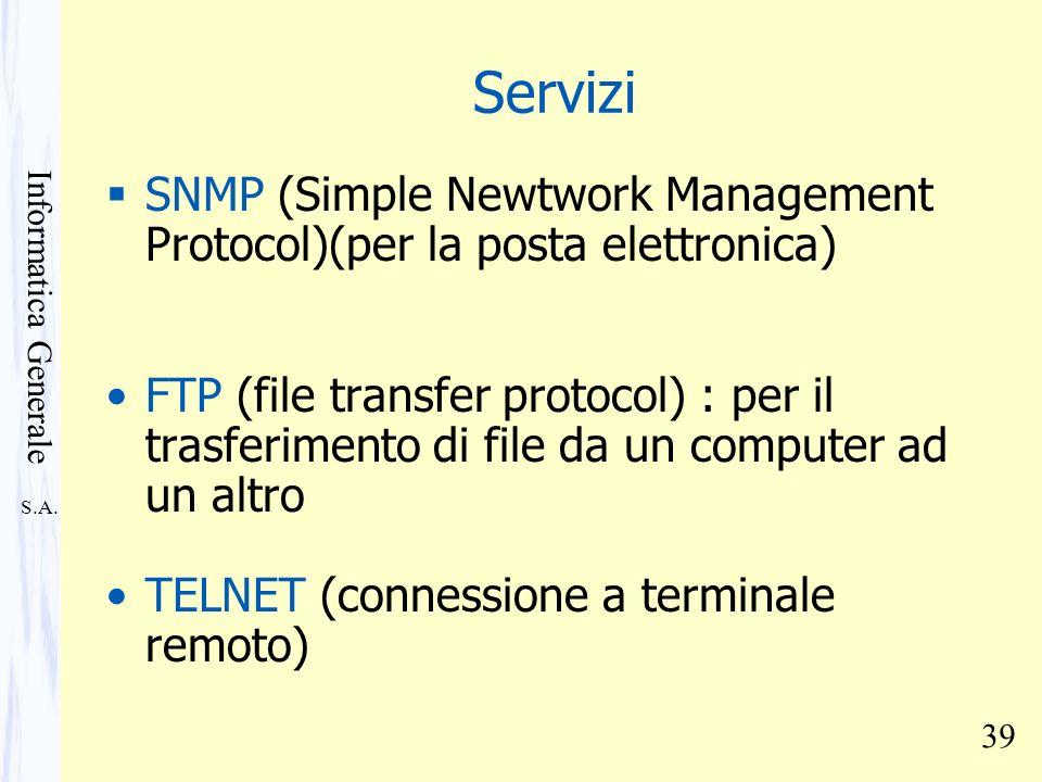 Servizi SNMP (Simple Newtwork Management Protocol)(per la posta elettronica)