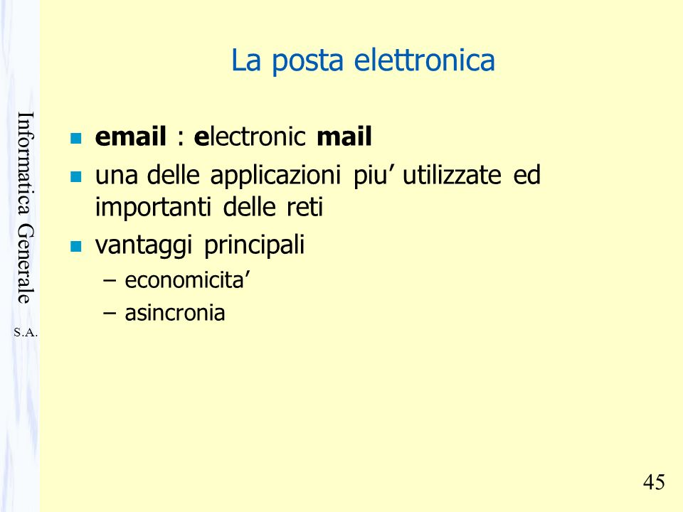 La posta elettronica email : electronic mail