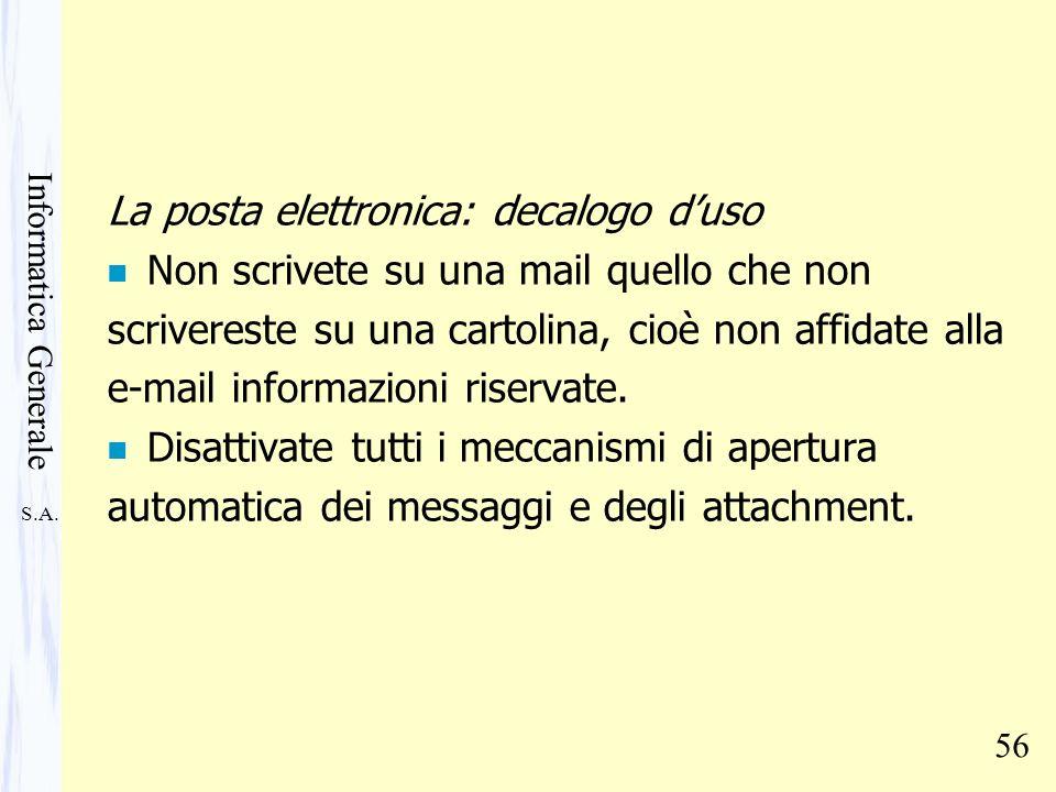 La posta elettronica: decalogo d'uso