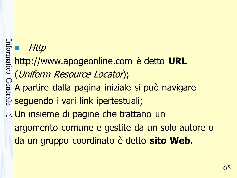 Http http://www.apogeonline.com è detto URL. (Uniform Resource Locator); A partire dalla pagina iniziale si può navigare.