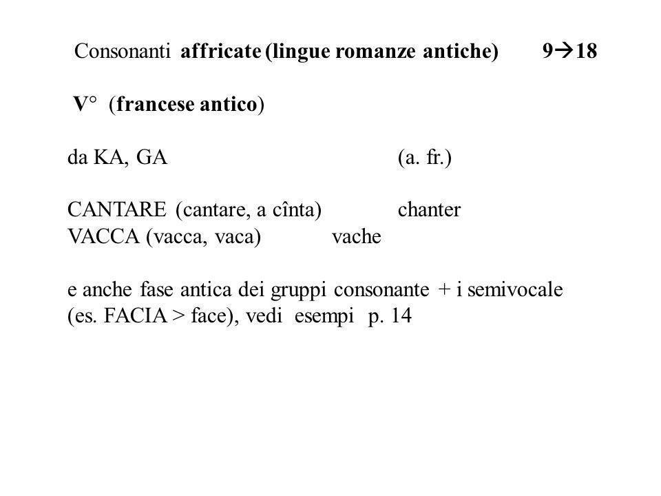Consonanti affricate (lingue romanze antiche) 918